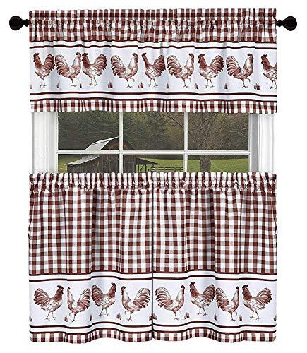 goodgram Country Home Plaid Hahn Küche Vorhang Etagen & Querbehang Set, verschiedene Farben & Größen, Polyester-Mischgewebe, burgunderfarben, 36 in. Long (Küche Vorhänge Hahn)