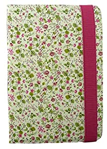 Emartbuy® Universal Range Pink/Green Floral Multi Angle Executive Folio Wallet Case Cover For Swingtel Hellotab 2 7 Inch Tablet