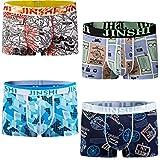 JINSHI Herren Bambusfaser Stretch Briefs ohne Eingriff Schnelltrocknend Unterwäsche Retro Boxer Trunks, Farbe:Multi-4pack-02, Gr. Large