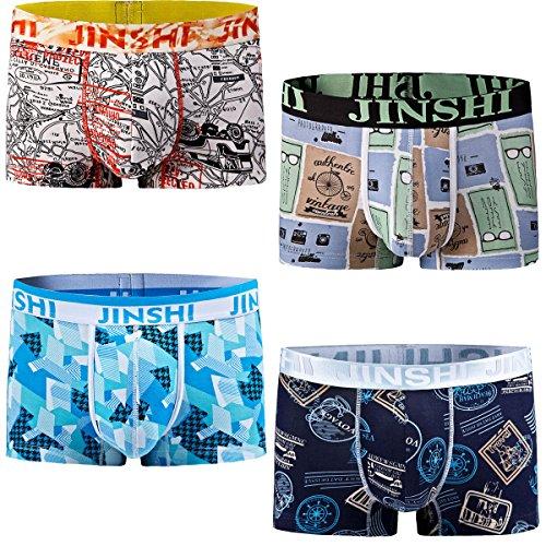 JINSHI Herren Bambusfaser Stretch Briefs ohne Eingriff Schnelltrocknend Unterwäsche Retro Boxer Trunks, Farbe:Multi-4pack-02, Gr. X-Large
