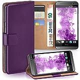 moex HTC One M8 | Hülle Lila mit Karten-Fach 360° Book Klapp-Hülle Handytasche Kunst-Leder Handyhülle für HTC One M8/M8s Case Flip Cover Schutzhülle Tasche