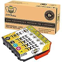CMYBabee 5-Paquete Reemplazo para Epson 33XL 33 XL Para estrenar Alto rendimiento Cartuchos de tinta (1 negro,1 Foto negra, 1 Cián, 1 amarillo, 1 magenta) Compatible para Epson Expression Premium XP-530 XP-540 XP-630 XP-635 XP-640 XP-645 XP-830 XP-900