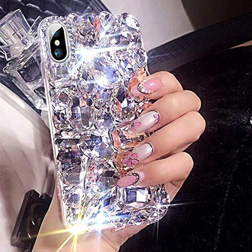 kompatibel mit iPhone XS Max Hülle,Glänzend Glitzer Bling Strass TPU Silikon Hülle Schutzhülle 3D Handschlaufe Diamant Transparent Silikon Handyhülle TPU Bumper Case Tasche für iPhone XS Max,Weiß -