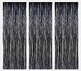 3 Confezioni di Tende Metalliche orde Lamina Frangia Tenda luccicante Decorazione della Finestra per la Festa di Compleanno Forniture per Feste di Nozze - Nero