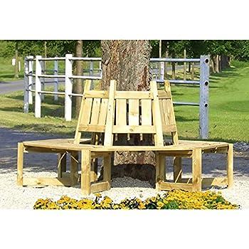 Banc de jardin en bois rond banc d 39 arbre de gartenpirat jardin - Amazon banc de jardin ...
