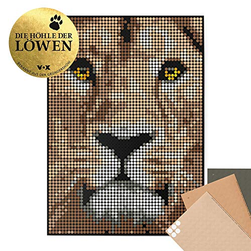 dot on art Löwe Klebebild - 40 x 30 cm Poster Lion Basteln Mit Kindern Aufkleber Doityourself Bastelset Stickerset Puzzeln