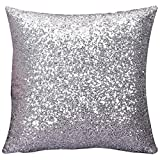 Cushion Generic Glitter Sequins Pillow Case Cafe Home Cushion Cover ( Silver )