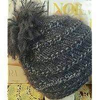 Cappello ai ferri da donna con motivo a spirale grigio viola 85276a253231