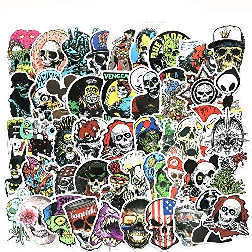 Inveroo 50pcs Cool Terror Skull Halloween Stickerbomben-planger Scrapbooking Gag Sticker Auf Clothes Laptop Motorrad Skateboard Trunk