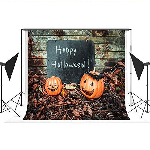 Kate Fotografie Hintergrund Happy Halloween Worte Photo Booth Kürbis Holz Wand Hintergrund fällt für Studio Fotos 7 x 5 FT/2,2 x 1,5 m (Halloween Worte Für Happy)