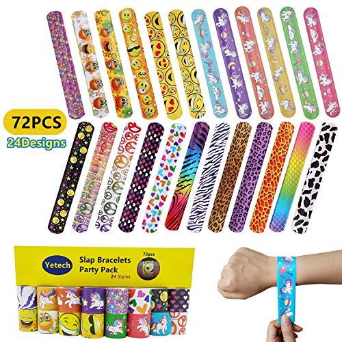Yetech 72 pezzi braccialetti per bambini, braccialetti slap ragazzi e ragazze birthday party supplies favors toys, bomboniere per bambini