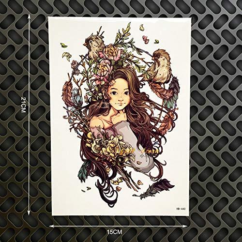 Tzxdbh 2 pz 1 pz fata ragazza deisngs tattoo impermeabile body art tattoo adesivi 21 * 15 cm grandi dimensioni uccelli volanti tatoo selfie