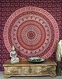 Guru-Shop Indisches Mandala Tuch, Wandtuch, Tagesdecke Mandala Druck - Rot, Baumwolle, 210x240 cm, Bettüberwurf, Sofa Überwurf