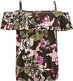 Blue Effect Trendiges Carmen Shirt im Camouflage Look Oliv/Pink/Rosa 5169 (170/176)