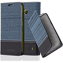 Cadorabo - Funda Estilo Book para Nokia Lumia 630 de Diseño Tela / Cuero Arificial con Tarjetero, Función de Suporte y Cierre Magnético Invisible - Etui Case Cover Carcasa Caja Protección en AZUL-OSCURO-NEGRO