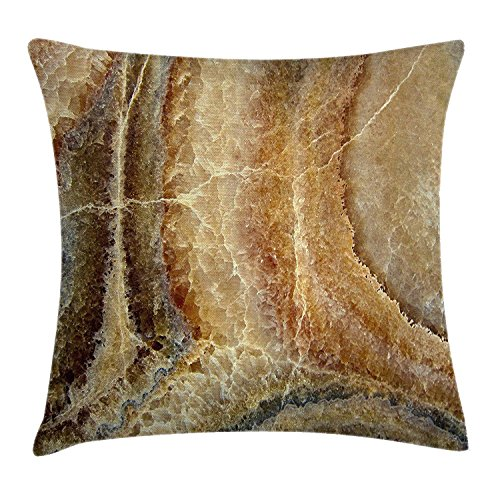 VICKKY Marble Throw Pillow Cushion Cover, Onyx Stone Surface Pattern Banded Variety Layered Differing Lines Image, Decorative Square Accent Pillow Case, 18 X 18 inches, Sand Brown Cinnamon Banded Hipster