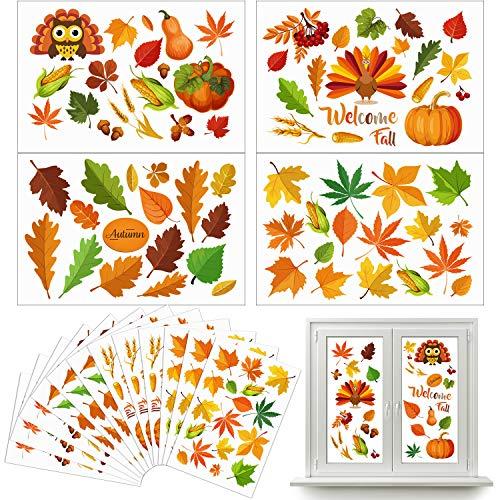 Outus 210 Stück Herbst Blatt Fenster Aufkleber Erntedankfest Herbst Blatt Aufkleber Ernte Ahorn Eichel Fenster Aufkleber für Herbstferien Party Dekorationen