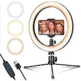LED-ringlampa 10 tum med stativstativ och telefonhållare för livestreaming & YouTube-video, dimbar skrivbordslampa med makeup