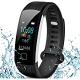 AISIRER Fitness Armband Uhr Fitness Tracker mit Pulsmesser Wasserdicht IP67 0.96 Farbbildschirm Schrittzähler Smartwatch Schlafmonitor Vibrationsalarm Anruf SMS Whatsapp Beachten für IOS Android Handy