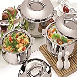 #1: Warmeo Steam High Quality Stainless Steel Insulated Casserole, 1000ml+1500ml+2500ml, 3Pcs Gift Set, Silver.