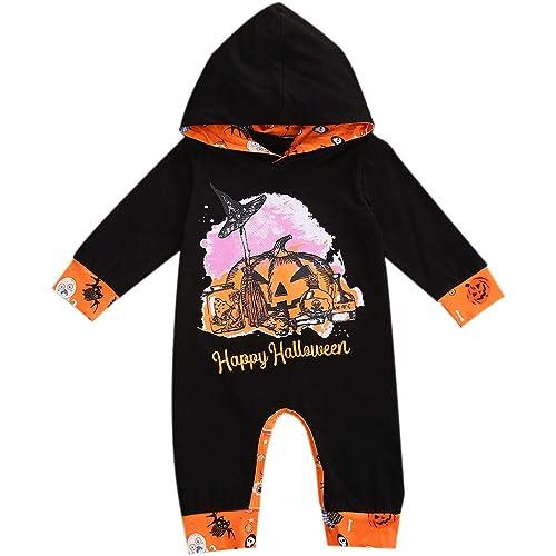 Bowanadacles Pagliaccetto Neonato Neonata Unisex Costume per Halloween con Cappuccio a Maniche Lunghe Stampa di Fantasma e Lettere Divertenti 0-18 Mesi