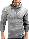 Grin&Bear Slim fit Schalkragen Pullover Grobstrick Strickjacke Herren, grau meliert, S, GEC570