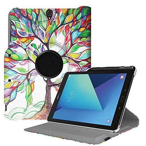 Fintie Hülle für Samsung Galaxy Tab S3 T820 / T825 (9,68 Zoll) Tablet-PC - 360 Grad Rotierend Schutzhülle Cover Case Tasche mit Auto Schlaf/Wach Funktion und eingebautem S Pen Halter, Liebesbaum