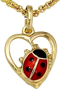 Bijoux femmes collier pendentif coeur avec coccinelle