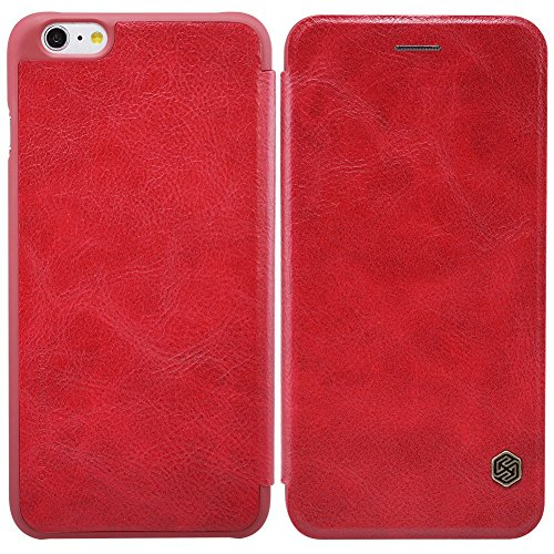 "MOONCASE iPhone 6S Coque, Antidérapant UltraSlim Housse en Cuir Premium Etui à rabat pour iPhone 6 6S 4.7"" Bookstyle Case Blanc Rouge"