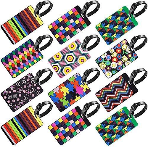 12unidades etiquetas de equipaje, Senhai viaje maleta etiquetas de identificación de etiquetas titular de la tarjeta de negocios–Colorful