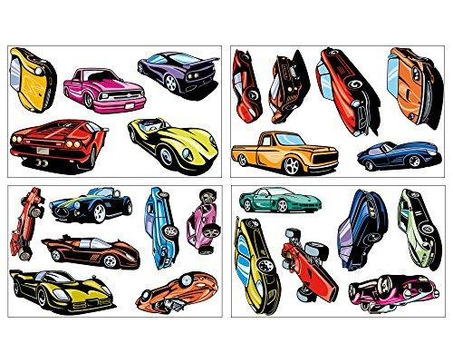 plot4u 24 Sportwagen Set Wandtattoo Auto USA Car Wandaufkleber in 3 Größen (4x16x26cm mehrfarbig) (Usa Aufkleber Wandtattoo)