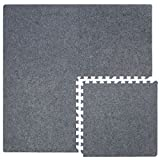 Eyepower 4 Teppichfliesen mit 8 Abschlussleisten erweiterbare Steckmatten Puzzlematten Bodenauflagen Teppichmatten Gesamtfläche 1.59 m² Stärke 7mm Grau