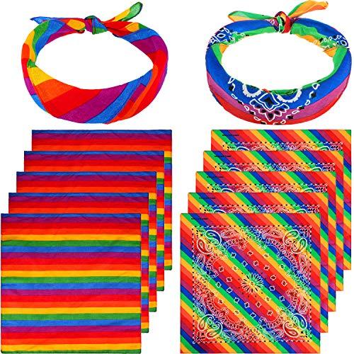 12 Stücke Regenbogen Bandanas Regenbogen Streifen Bandana Kostüm Zubehör für Party Feier Lieferungen (Farbe - Ein Stück Farbe Kostüm