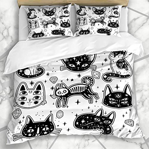 Soefipok Bettbezug-Sets Moon Patch Witchs Katze Wildlife Witchcraft Niedliche Gothic Girl Magic Space Esoteric Design Tattoo Mikrofaser Bettwäsche mit 2 Pillow Shams -