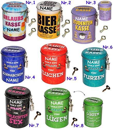alles-meine.de GmbH Sparbüchse -  Urlaubs Kasse  - incl. Name - incl. 2 Schlüssel und Schloss - stabile Spardose - aus Metall - Blechdose - Geld Sparschwein - Blechspardose - f.. -