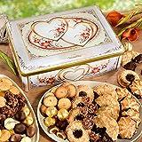 'Herzstück' Metall-Truhe, Süßigkeiten-Box, dekorative Blechdose, gefüllt mit Pralinen, Gebäck und Keksen, ideales Geschenk, 1 x 1,875 kg