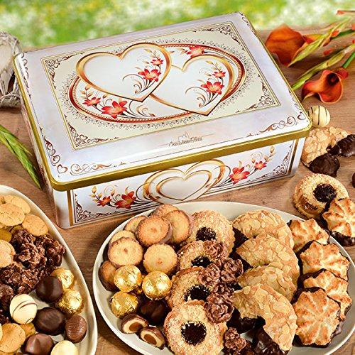"""""""Herzstück"""" Metall-Truhe, Süßigkeiten-Box, dekorative Blechdose, gefüllt mit Pralinen, Gebäck und Keksen, ideales Geschenk, 1 x 1,875 kg"""