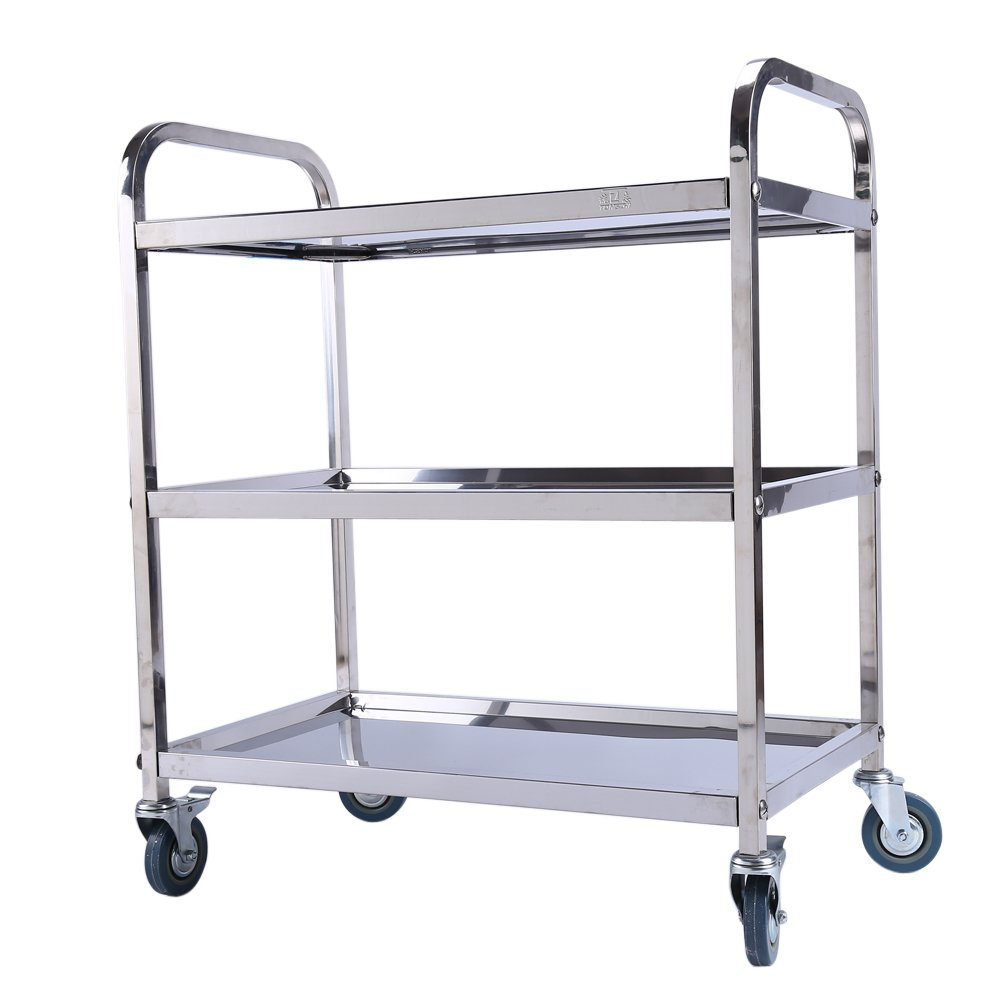 3 Tier Stainless Steel Kitchen Storage Trolley Cart, Large ...