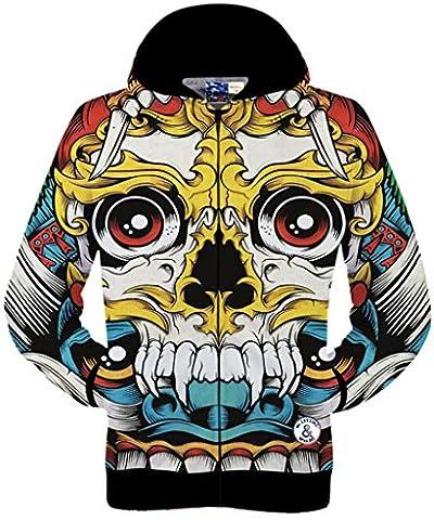 Pizoff Unisex Hip Hop Zip Through Hoodie Jackets with Animal 3D Digital Print Drawstring hood Zip pockets animation skull monster Y1765-41-L