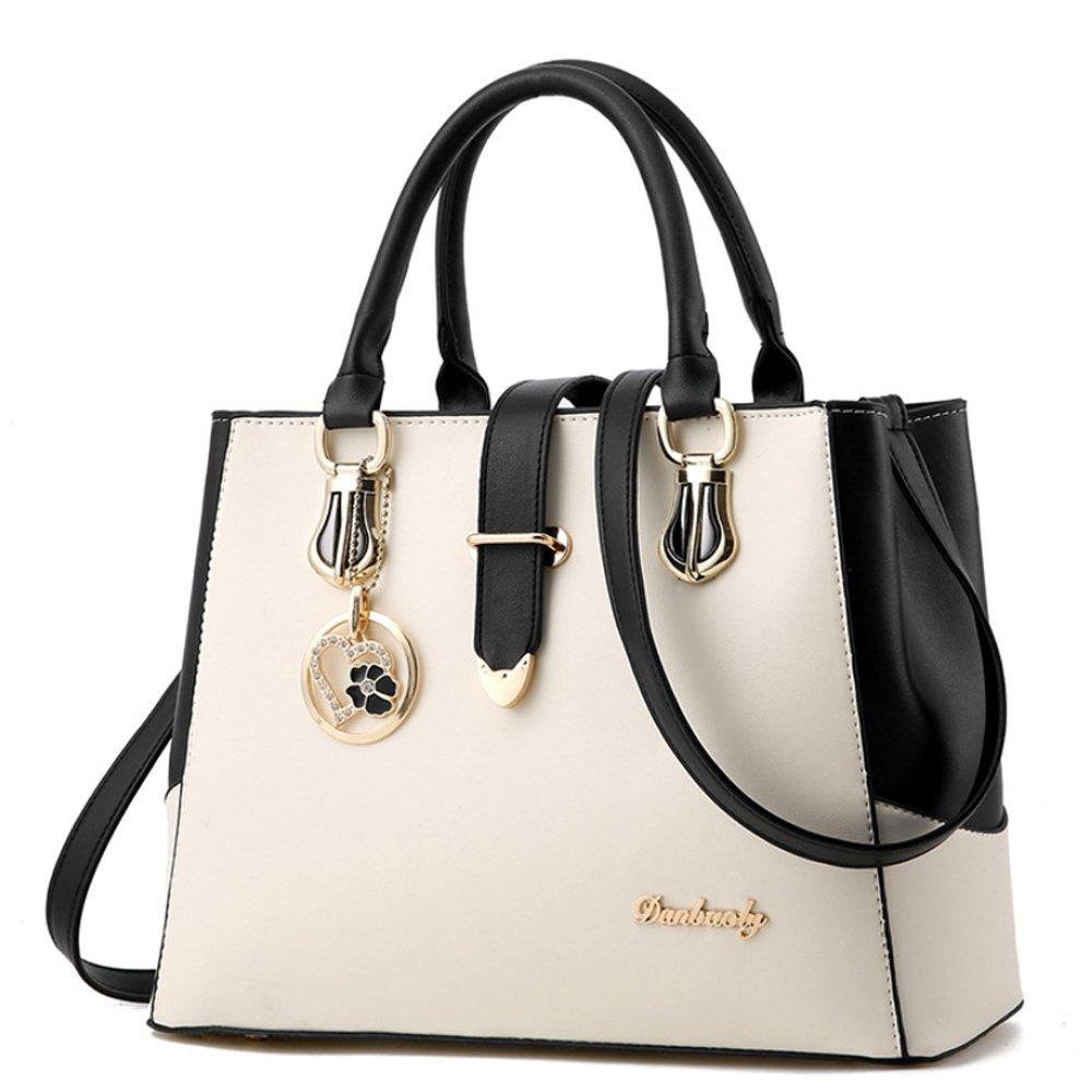 dce502a8b5082 BestoU Damen Handtaschen Schwarz groß taschen Leder moderne damen  handtasche gross schultertasche Frauen Umhängetasche (Weiß