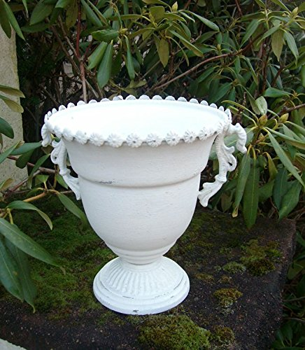 Dekorativer Übertopf Amphore Pflanztopf Vase Schale Eisen weiss shabby