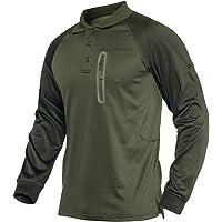 KEFITEVD Men's Long Sleeve Polo Shirts Military Work Tops Button Down Army Safari T-Shirt with Zipper Pocket