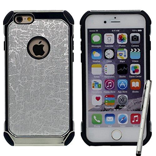 iPhone 6S Coque, Dur Plastique Poids léger Anti Choc Briller Soulagement Motif Style de luxe Housse de Protection case pour Apple iPhone 6 6S 4.7 inch avec 1 stylet Argent