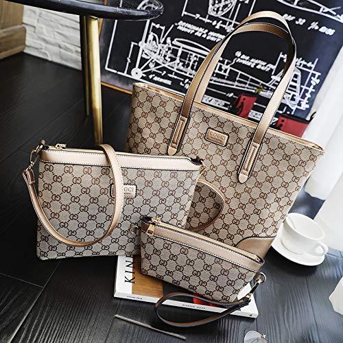 Taschen WomenRetro Stil PU Leder Schulter Diagonale Cross-Body-Bag gedruckt Plaid Handtasche, Gold -