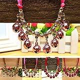 Huhuswwbin Hundehalsband, modisch, leuchtende Farben, für Hunde/Katzen, Welpen, mit Glöckchen, Charm-Anhänger – Rosarot XS