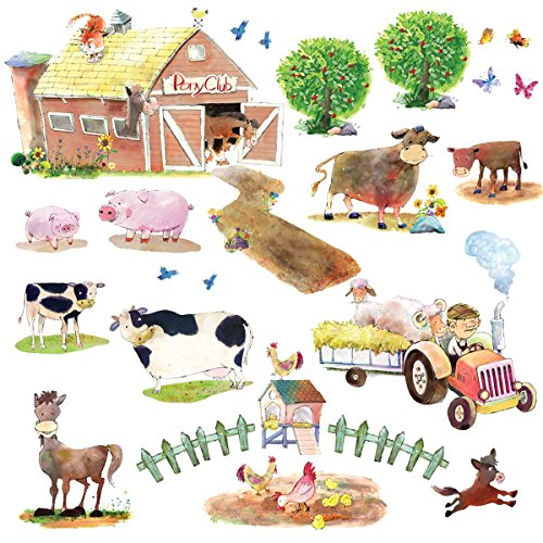 Decowall DW-1407 Bauernhof Kuh Pferd Nutztiere Tiere Wandtattoo Wandsticker Wandaufkleber Wanddeko für Wohnzimmer Schlafzimmer Kinderzimmer - Wandtattoos Pferd Zitate