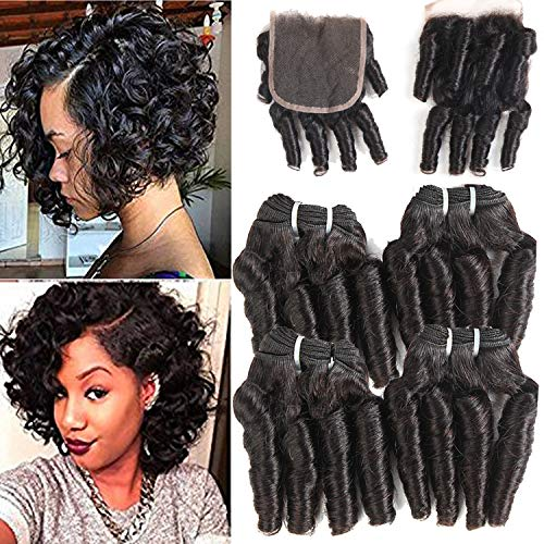 Pacchetti di capelli funmi con chiusura brasiliana deep curly wave 4 bundles con chiusura breve riccily wave colore naturale (50g/pc 8 8 8 8)