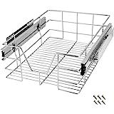 Tiroir de rangement télescopique en métal chromé Tiroir de cuisine Rangement armoire Largeur meuble 40 cm