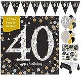 FestefeiernSet de décoration pour fête d'anniversaire 40 ans, 31pièces or noir et argent