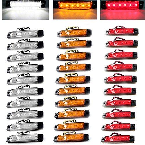 Lkws Rote Led-lichter Für (30pcs Auto-externe Lichter DC führte 24V 6 SMD LED Selbstauto-Bus-LKW-Lastwagen-Seiten-Markierungs-Anzeige niedriges geführtes Anhänger-Licht-hintere Seiten-Lampe, die rotes gelbes Weiß einschließt)